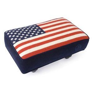 Jonathan Adler Needlepoint Stool (American Flag)